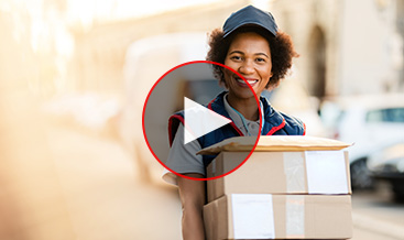 Delivery woman with packages