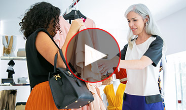 Two women meeting at a boutique